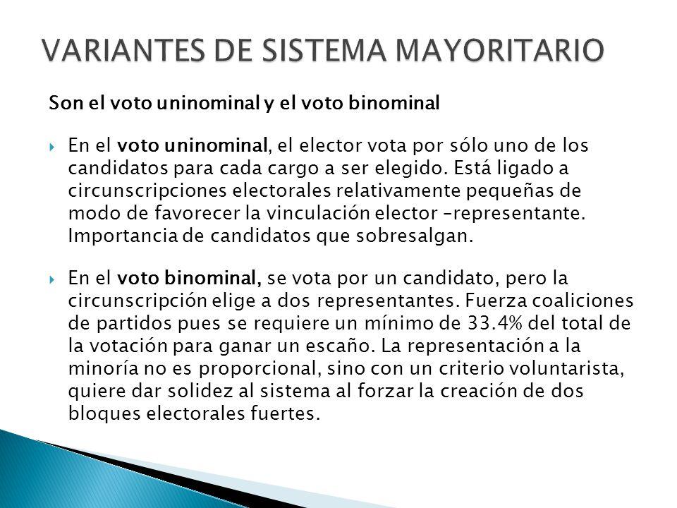 Son el voto uninominal y el voto binominal  En el voto uninominal, el elector vota por sólo uno de los candidatos para cada cargo a ser elegido.