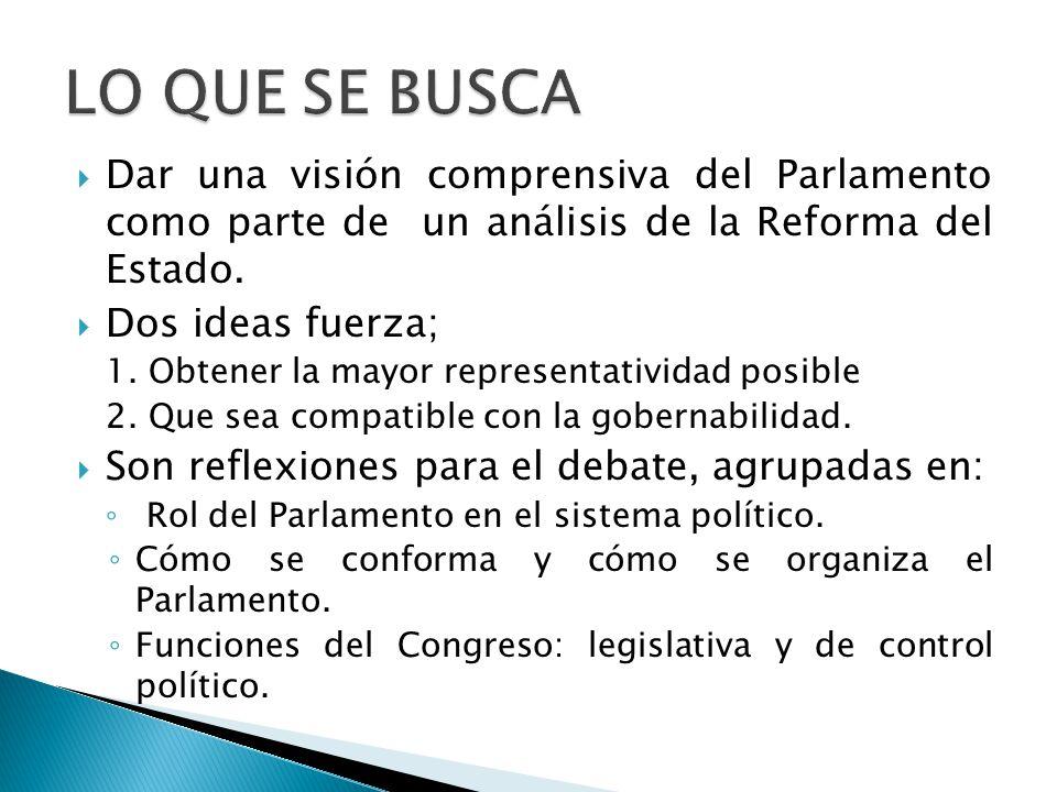  Dar una visión comprensiva del Parlamento como parte de un análisis de la Reforma del Estado.