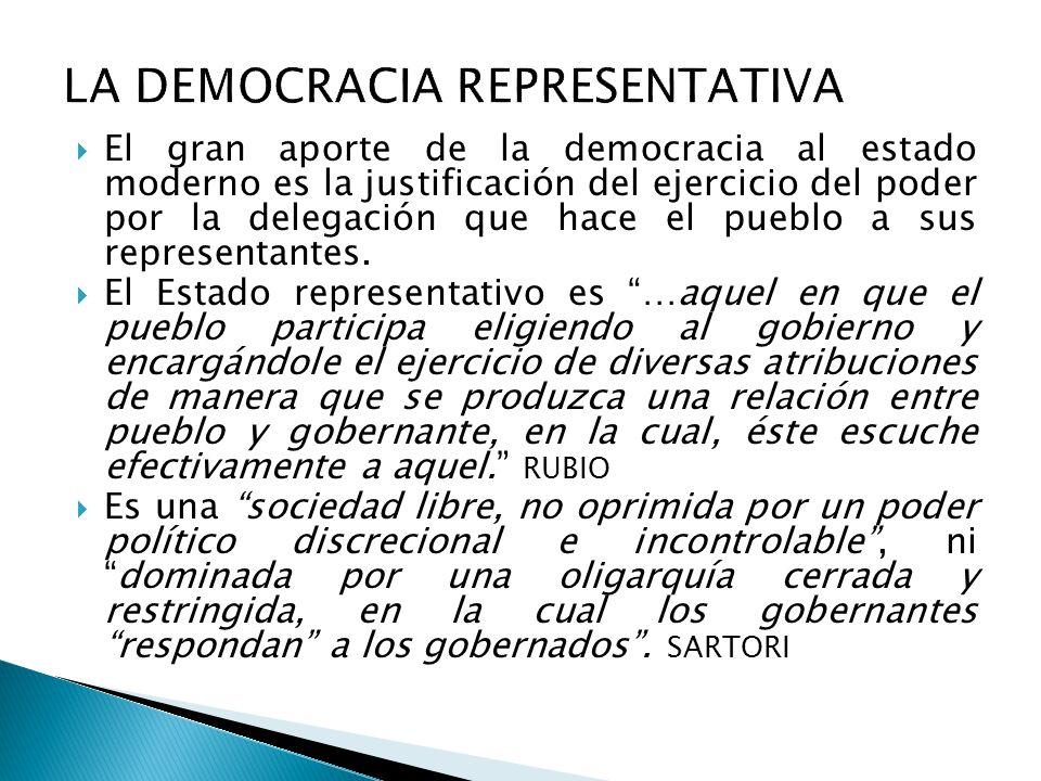  El gran aporte de la democracia al estado moderno es la justificación del ejercicio del poder por la delegación que hace el pueblo a sus representantes.