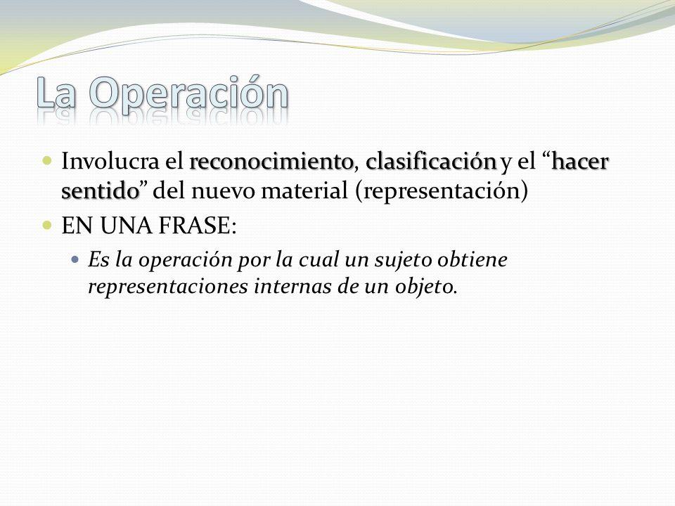 reconocimientoclasificaciónhacer sentido Involucra el reconocimiento, clasificación y el hacer sentido del nuevo material (representación) EN UNA FRASE: Es la operación por la cual un sujeto obtiene representaciones internas de un objeto.
