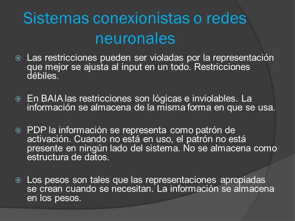 Sistemas conexionistas o redes neuronales  Las restricciones pueden ser violadas por la representación que mejor se ajusta al input en un todo.