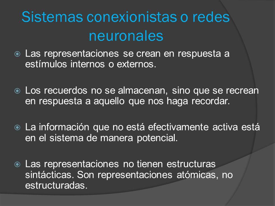 Sistemas conexionistas o redes neuronales  Las representaciones se crean en respuesta a estímulos internos o externos.