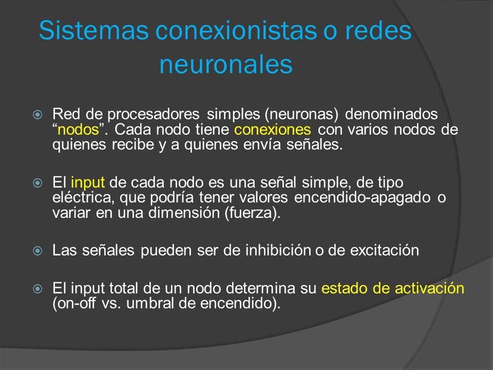 Sistemas conexionistas o redes neuronales  Red de procesadores simples (neuronas) denominados nodos .
