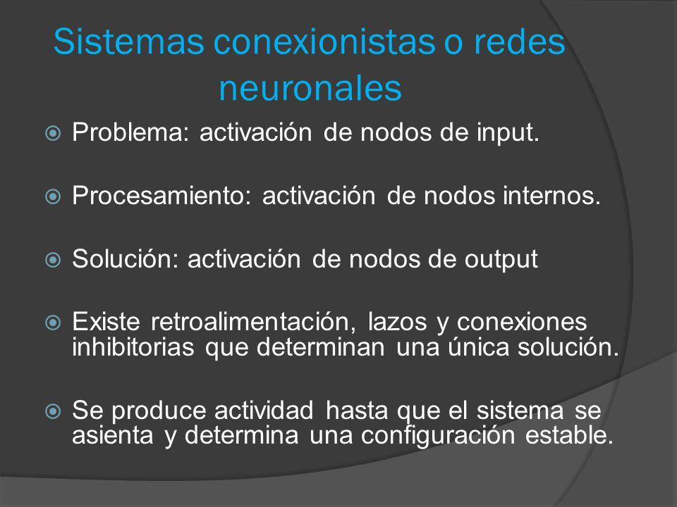 Sistemas conexionistas o redes neuronales  Problema: activación de nodos de input.