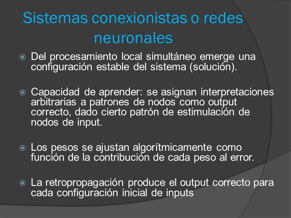 Sistemas conexionistas o redes neuronales  Del procesamiento local simultáneo emerge una configuración estable del sistema (solución).