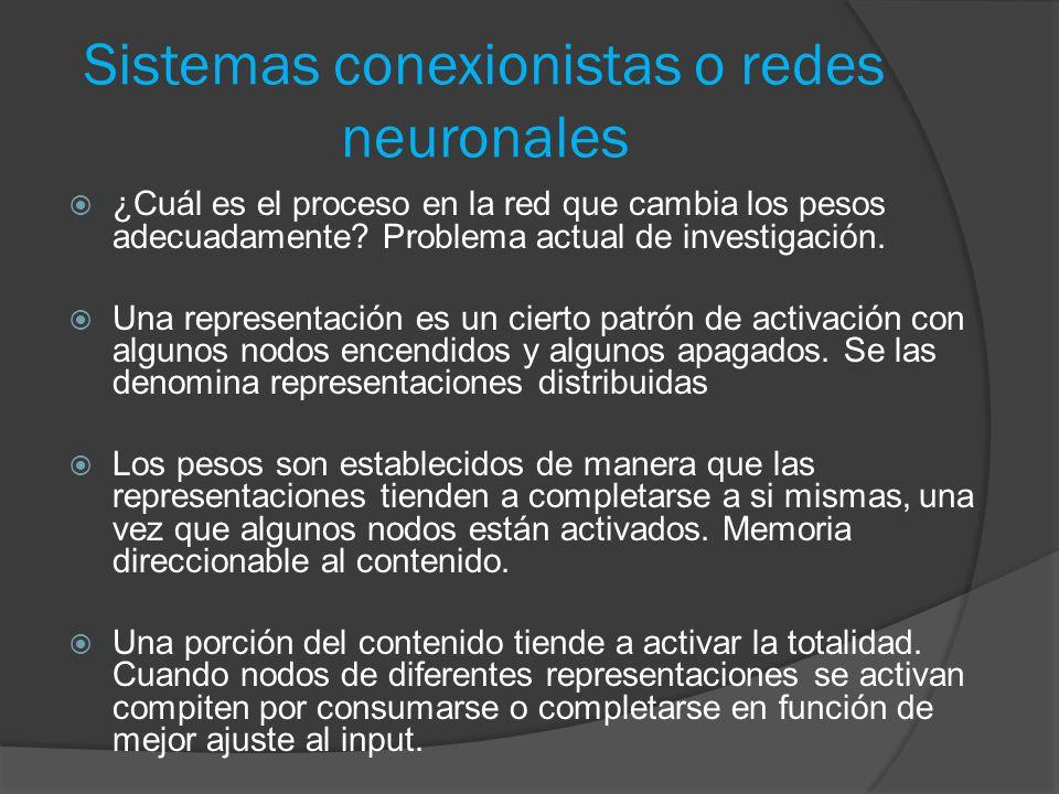 Sistemas conexionistas o redes neuronales  ¿Cuál es el proceso en la red que cambia los pesos adecuadamente.