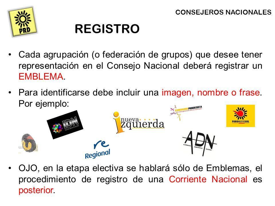 Cada agrupación (o federación de grupos) que desee tener representación en el Consejo Nacional deberá registrar un EMBLEMA.