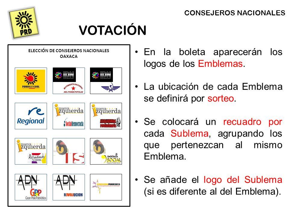CONSEJEROS NACIONALES VOTACIÓN En la boleta aparecerán los logos de los Emblemas.