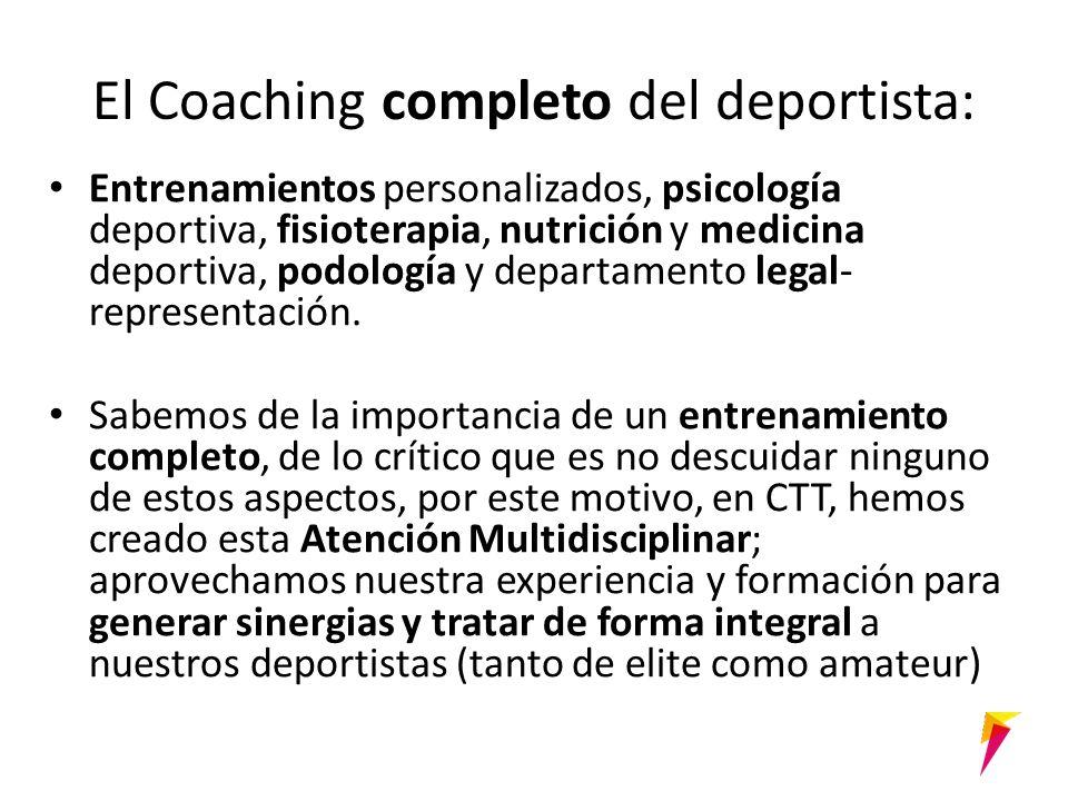 El Coaching completo del deportista: Entrenamientos personalizados, psicología deportiva, fisioterapia, nutrición y medicina deportiva, podología y departamento legal- representación.