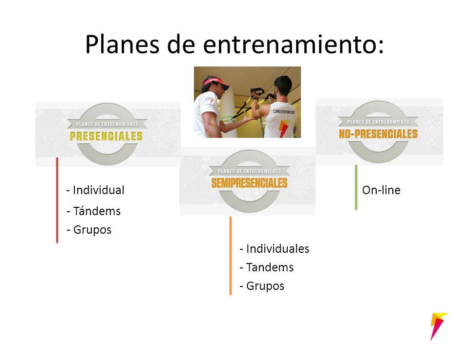 Planes de entrenamiento: - Individual On-line - Tándems - Grupos - Individuales - Tandems - Grupos