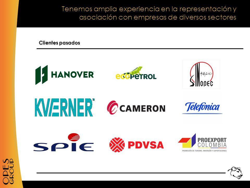 Tenemos amplia experiencia en la representación y asociación con empresas de diversos sectores Clientes pasados