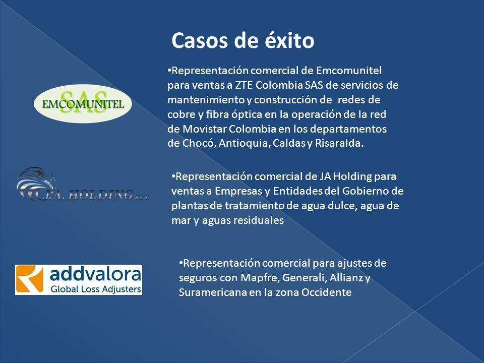 Casos de éxito Representación comercial de Emcomunitel para ventas a ZTE Colombia SAS de servicios de mantenimiento y construcción de redes de cobre y fibra óptica en la operación de la red de Movistar Colombia en los departamentos de Chocó, Antioquia, Caldas y Risaralda.