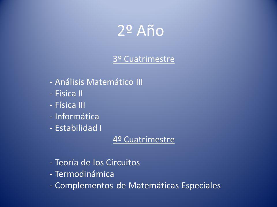 2º Año 3º Cuatrimestre - Análisis Matemático III - Física II - Física III - Informática - Estabilidad I 4º Cuatrimestre - Teoría de los Circuitos - Termodinámica - Complementos de Matemáticas Especiales