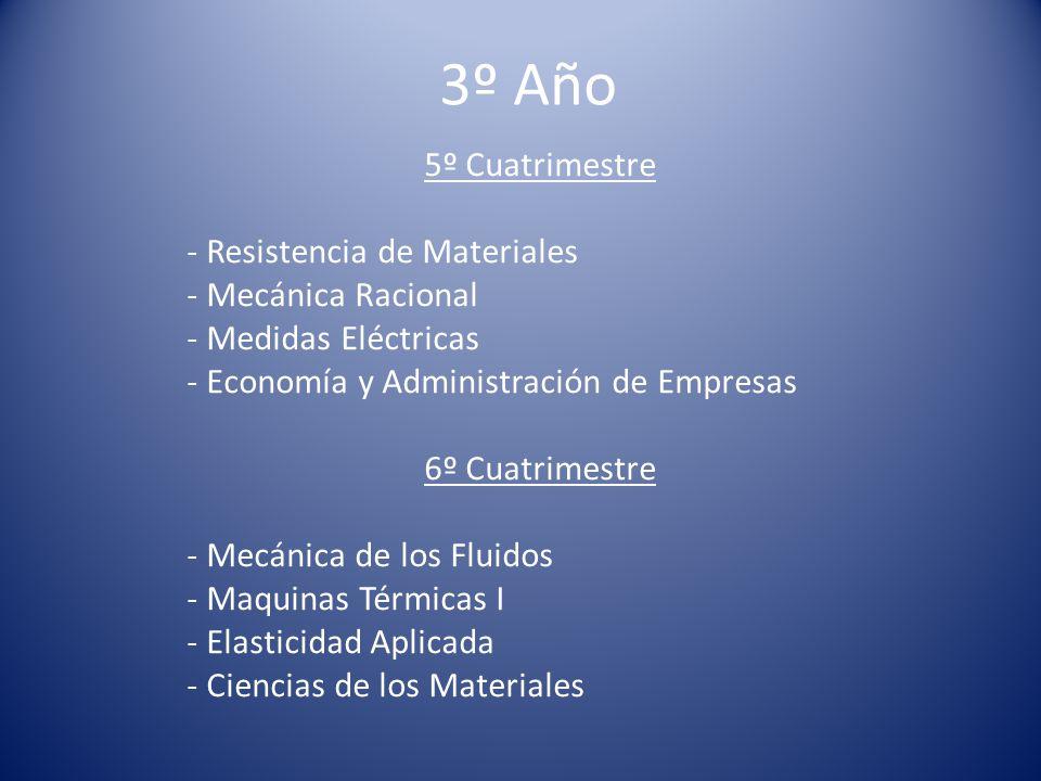 3º Año 5º Cuatrimestre - Resistencia de Materiales - Mecánica Racional - Medidas Eléctricas - Economía y Administración de Empresas 6º Cuatrimestre - Mecánica de los Fluidos - Maquinas Térmicas I - Elasticidad Aplicada - Ciencias de los Materiales