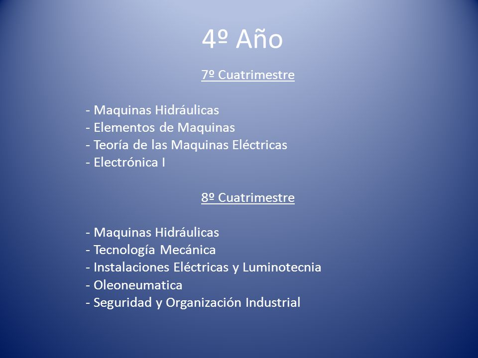 4º Año 7º Cuatrimestre - Maquinas Hidráulicas - Elementos de Maquinas - Teoría de las Maquinas Eléctricas - Electrónica I 8º Cuatrimestre - Maquinas Hidráulicas - Tecnología Mecánica - Instalaciones Eléctricas y Luminotecnia - Oleoneumatica - Seguridad y Organización Industrial
