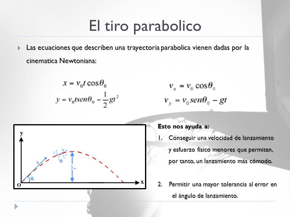 El tiro parabolico  Las ecuaciones que describen una trayectoria parabolica vienen dadas por la cinematica Newtoniana: Esto nos ayuda a: 1.Conseguir una velocidad de lanzamiento y esfuerzo físico menores que permiten, por tanto, un lanzamiento más cómodo.