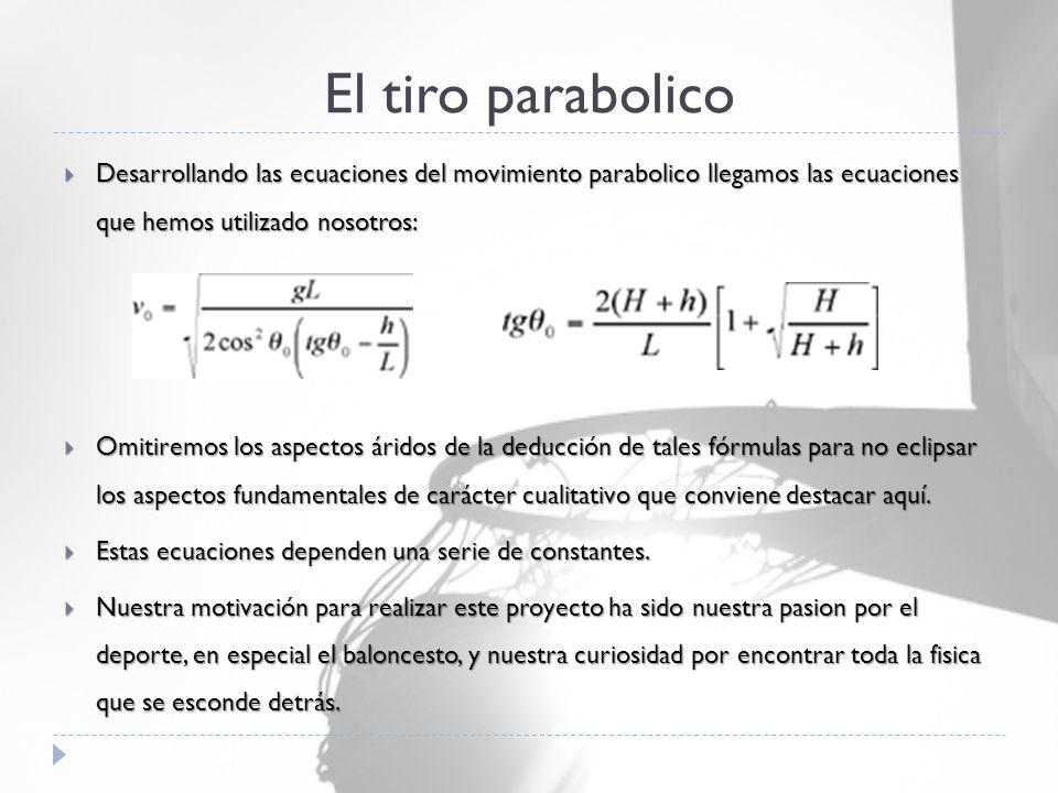 El tiro parabolico  Desarrollando las ecuaciones del movimiento parabolico llegamos las ecuaciones que hemos utilizado nosotros:  Omitiremos los aspectos áridos de la deducción de tales fórmulas para no eclipsar los aspectos fundamentales de carácter cualitativo que conviene destacar aquí.