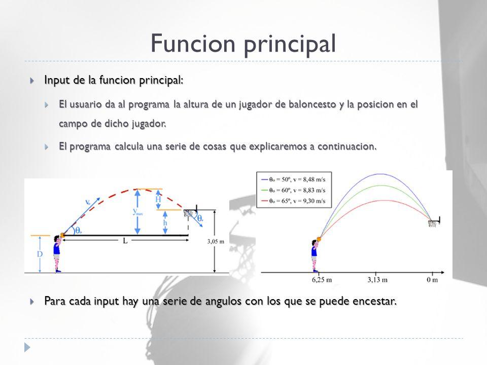 Funcion principal  Input de la funcion principal:  El usuario da al programa la altura de un jugador de baloncesto y la posicion en el campo de dicho jugador.
