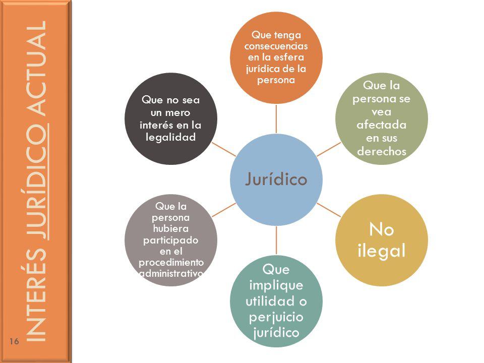 Jurídico Que tenga consecuencias en la esfera jurídica de la persona Que la persona se vea afectada en sus derechos No ilegal Que implique utilidad o perjuicio jurídico Que la persona hubiera participado en el procedimiento administrativo Que no sea un mero interés en la legalidad INTERÉS JURÍDICO ACTUAL 16