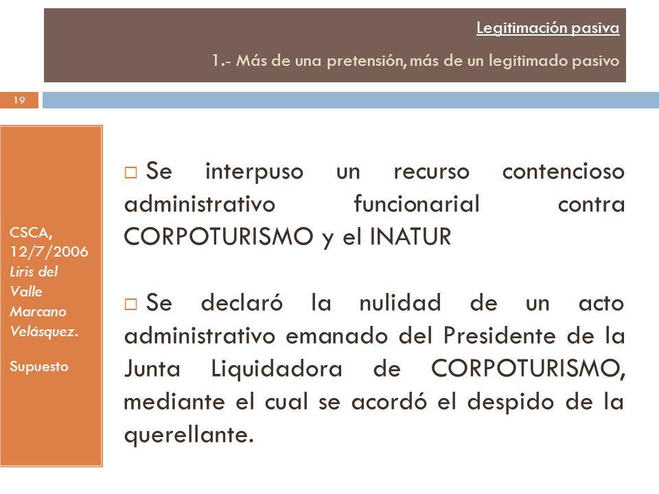Legitimación pasiva 1.- Más de una pretensión, más de un legitimado pasivo CSCA, 12/7/2006 Liris del Valle Marcano Velásquez.