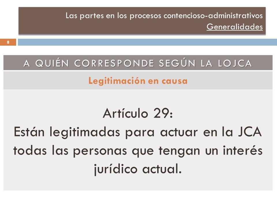 Las partes en los procesos contencioso-administrativos Generalidades A QUIÉN CORRESPONDE SEGÚN LA LOJCA Legitimación en causa Artículo 29: Están legitimadas para actuar en la JCA todas las personas que tengan un interés jurídico actual.