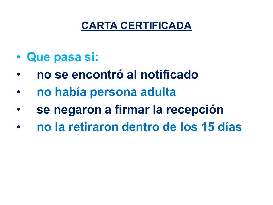 CARTA CERTIFICADA Que pasa si: no se encontró al notificado no había persona adulta se negaron a firmar la recepción no la retiraron dentro de los 15 días