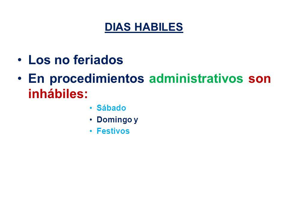 DIAS HABILES Los no feriados En procedimientos administrativos son inhábiles: Sábado Domingo y Festivos