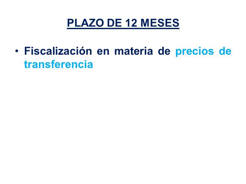 PLAZO DE 12 MESES Fiscalización en materia de precios de transferencia
