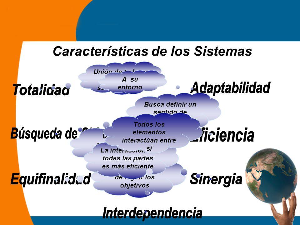 Características de los Sistemas Unión de todos los subsistemas Busca definir un sentido de unidad y propósito Distintas formas de lograr los objetivos A su entorno Uso de los recursos en la mejor forma posible La interacción de todas las partes es más eficiente Todos los elementos interactúan entre sí