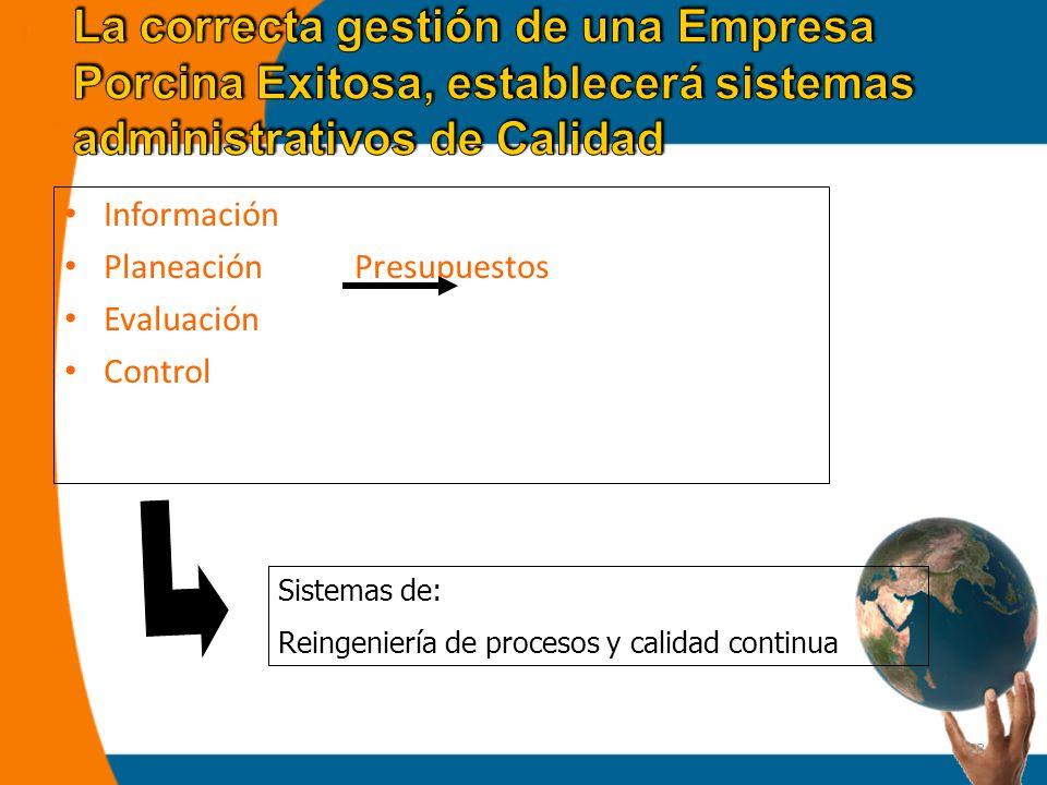 28 Información Planeación Presupuestos Evaluación Control Sistemas de: Reingeniería de procesos y calidad continua