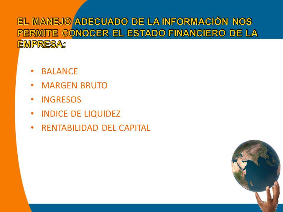 37 BALANCE MARGEN BRUTO INGRESOS INDICE DE LIQUIDEZ RENTABILIDAD DEL CAPITAL