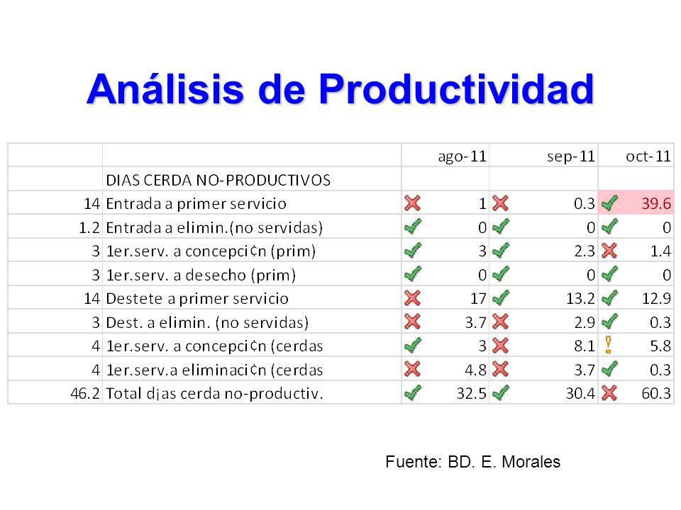Análisis de Productividad Fuente: BD. E. Morales