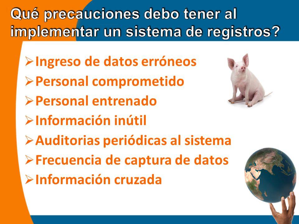  Ingreso de datos erróneos  Personal comprometido  Personal entrenado  Información inútil  Auditorias periódicas al sistema  Frecuencia de captura de datos  Información cruzada