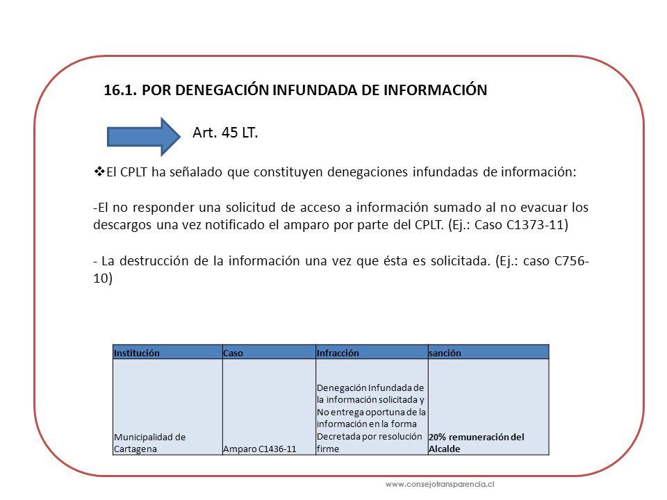 www.consejotransparencia.cl 16.1. POR DENEGACIÓN INFUNDADA DE INFORMACIÓN Art.