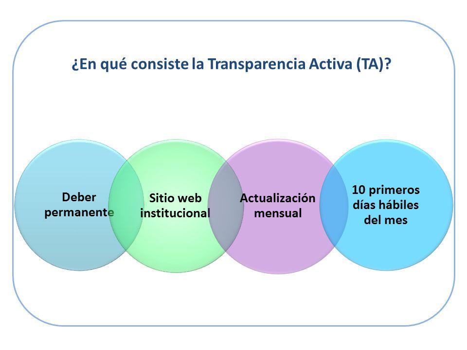 ¿En qué consiste la Transparencia Activa (TA).