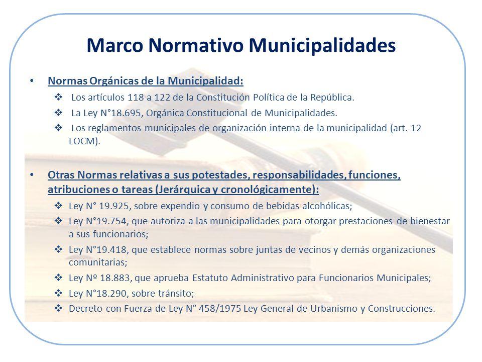 Marco Normativo Municipalidades Normas Orgánicas de la Municipalidad:  Los artículos 118 a 122 de la Constitución Política de la República.