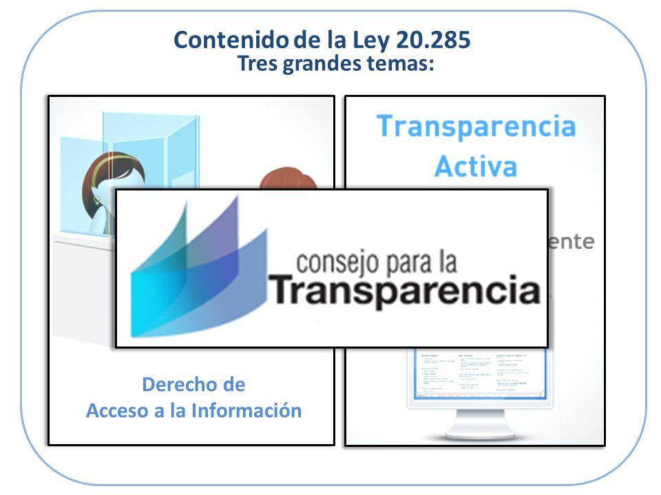 Contenido de la Ley 20.285 Tres grandes temas: Derecho de Acceso a la Información