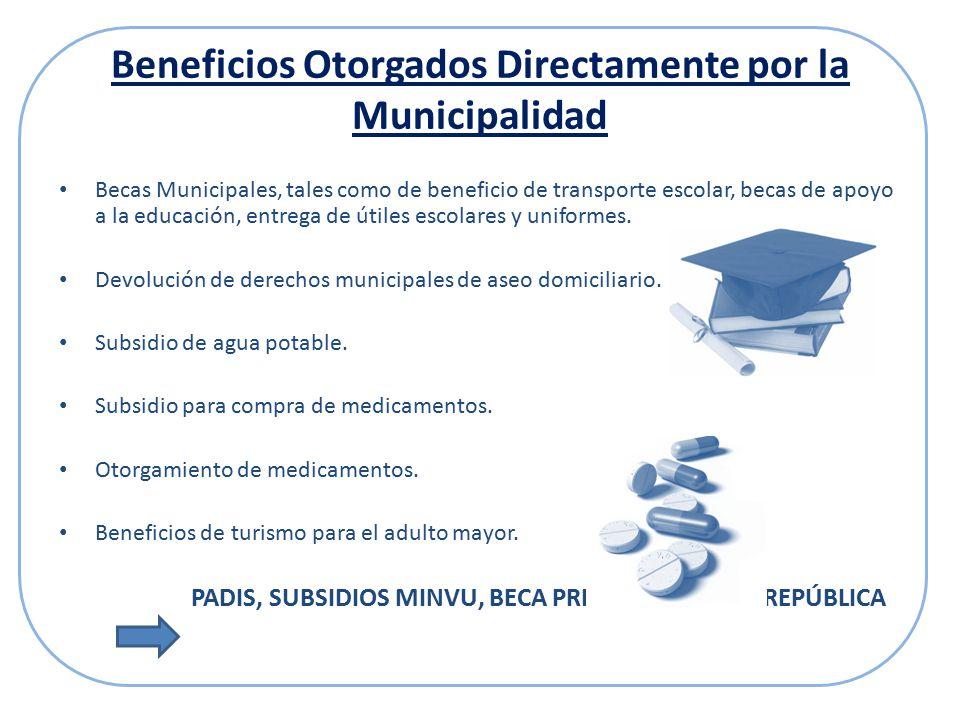 Beneficios Otorgados Directamente por la Municipalidad Becas Municipales, tales como de beneficio de transporte escolar, becas de apoyo a la educación, entrega de útiles escolares y uniformes.