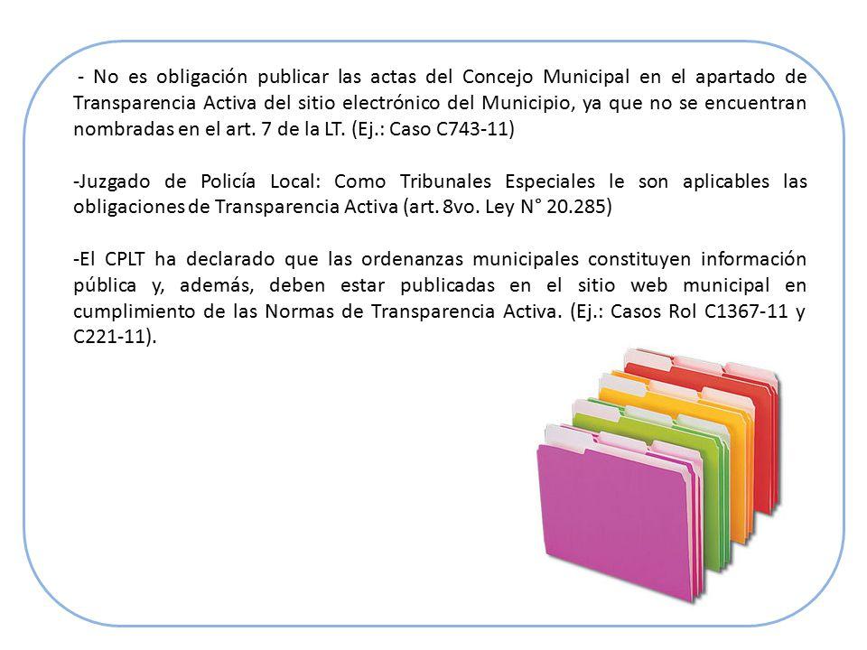 - No es obligación publicar las actas del Concejo Municipal en el apartado de Transparencia Activa del sitio electrónico del Municipio, ya que no se encuentran nombradas en el art.