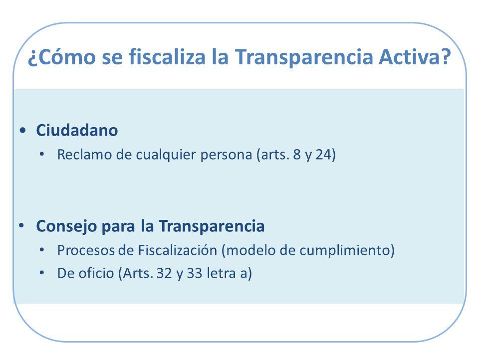¿Cómo se fiscaliza la Transparencia Activa. Ciudadano Reclamo de cualquier persona (arts.