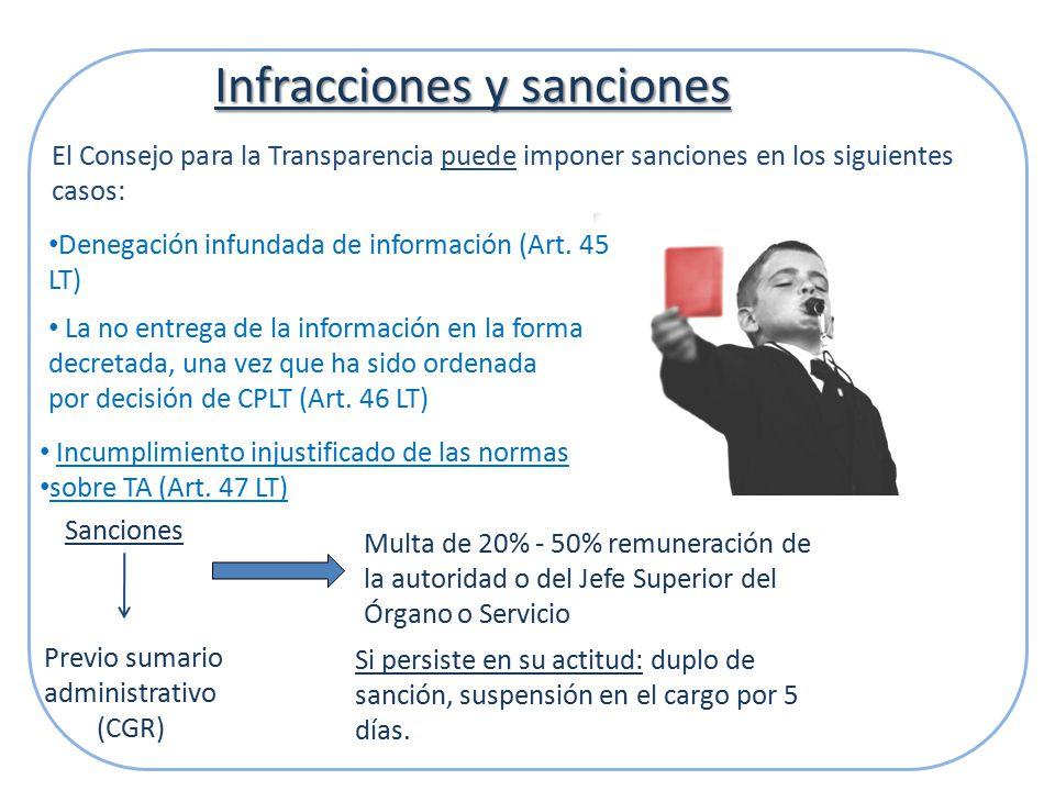 Infracciones y sanciones La no entrega de la información en la forma decretada, una vez que ha sido ordenada por decisión de CPLT (Art.