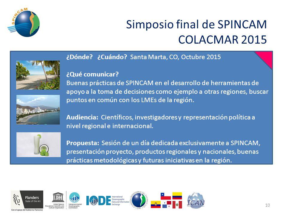 Simposio final de SPINCAM COLACMAR 2015 10 ¿Dónde.