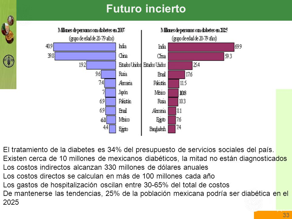 33 The State of Food Insecurity in the World Food and Agriculture Organization of the United Nations The State of Food Insecurity in the World Futuro incierto El tratamiento de la diabetes es 34% del presupuesto de servicios sociales del país.