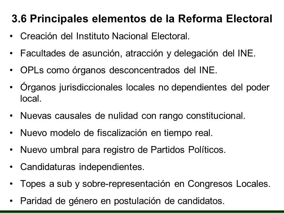 3.6 Principales elementos de la Reforma Electoral Creación del Instituto Nacional Electoral.