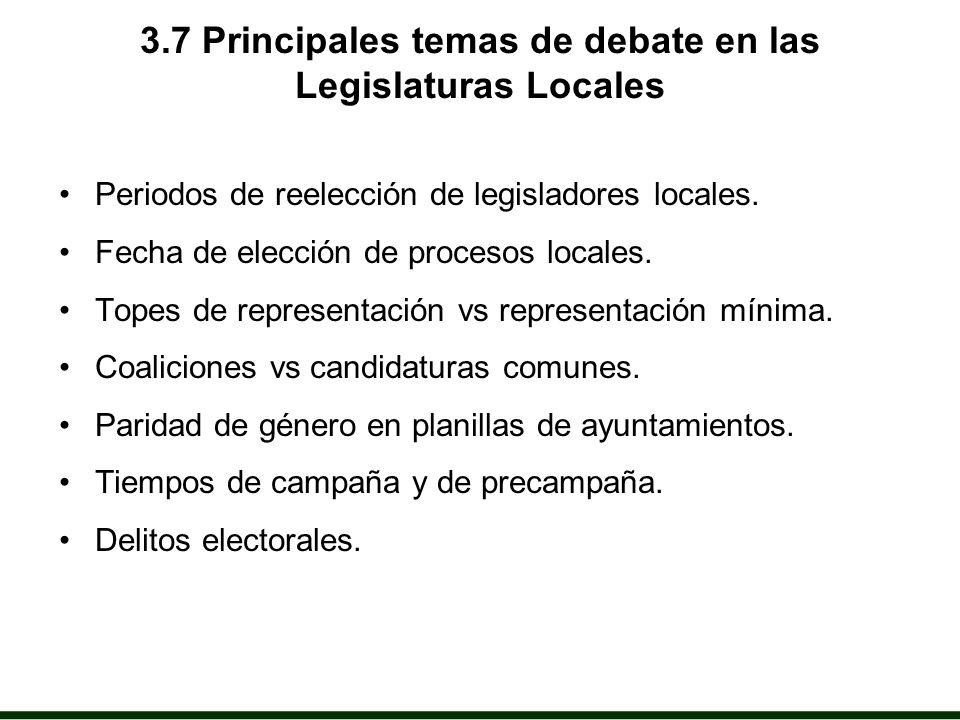3.7 Principales temas de debate en las Legislaturas Locales Periodos de reelección de legisladores locales.