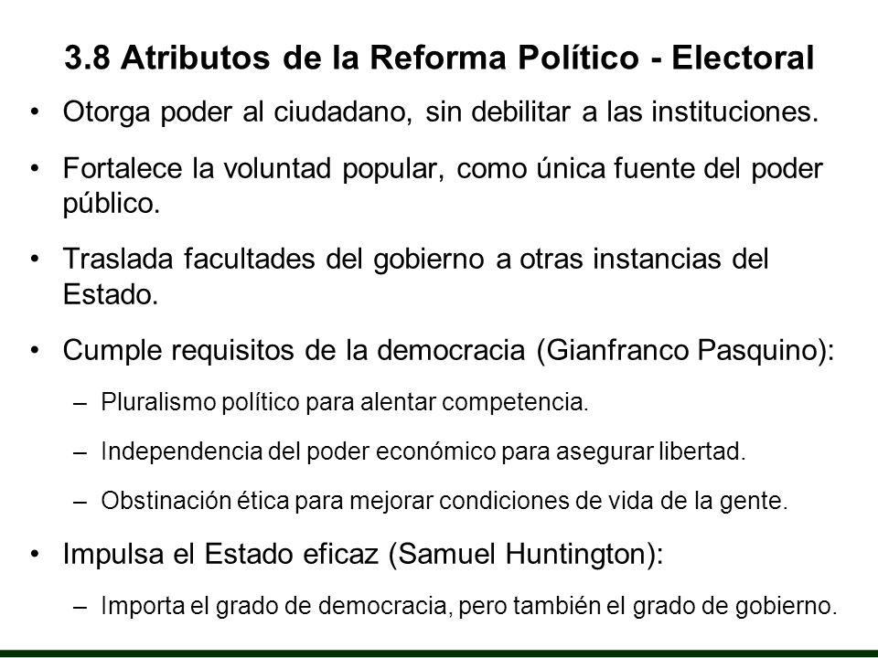 3.8 Atributos de la Reforma Político - Electoral Otorga poder al ciudadano, sin debilitar a las instituciones.