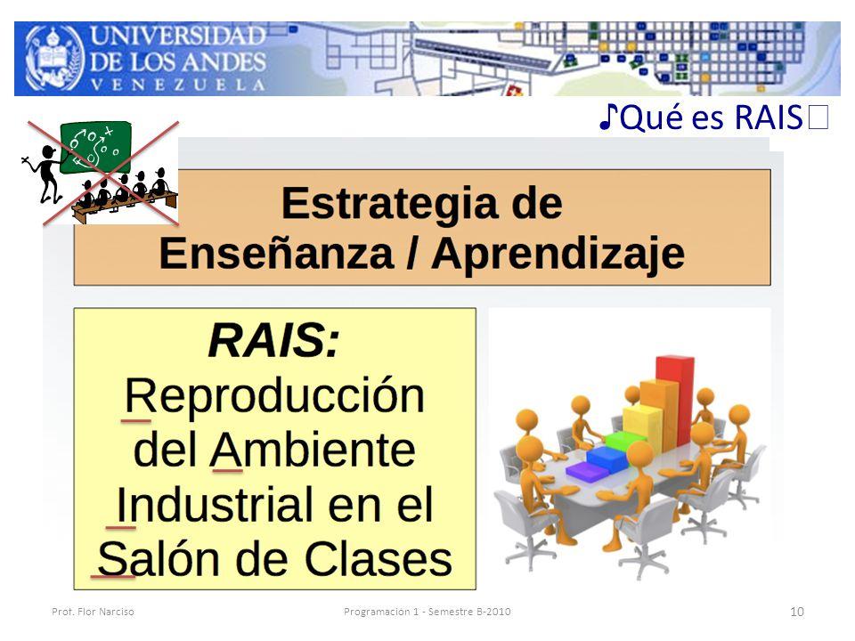 ♪ Qué es RAIS ♬ Prof. Flor NarcisoProgramación 1 - Semestre B-2010 10