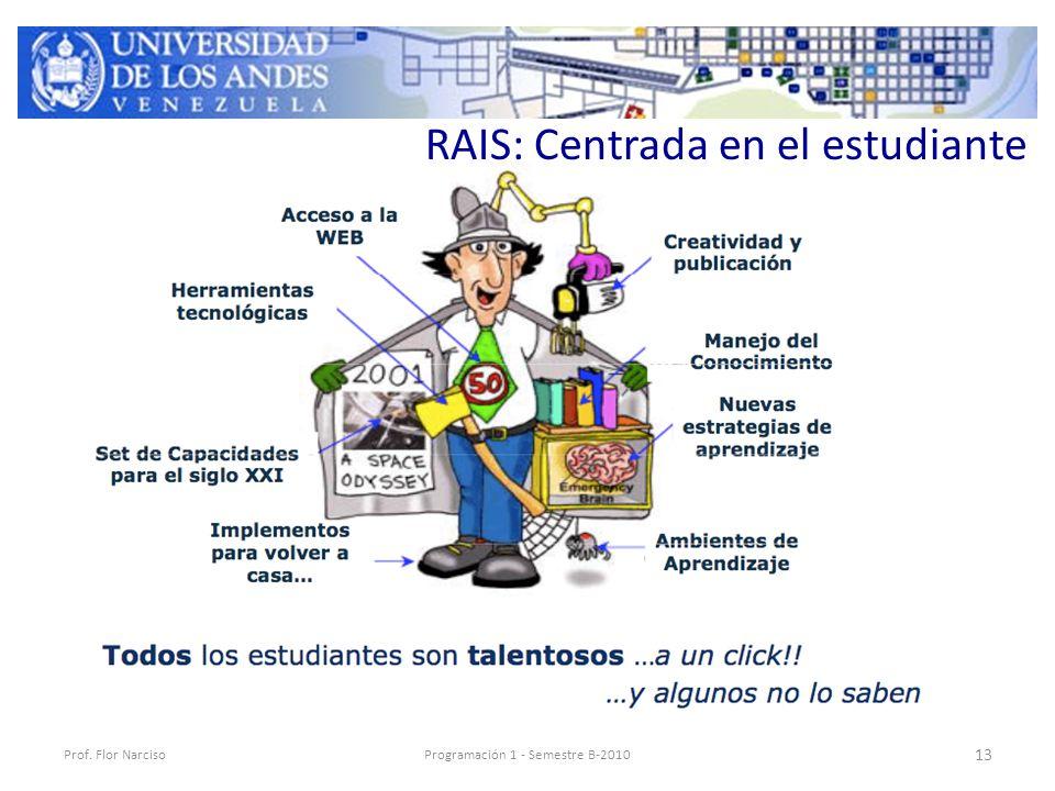 RAIS: Centrada en el estudiante Prof. Flor NarcisoProgramación 1 - Semestre B-2010 13