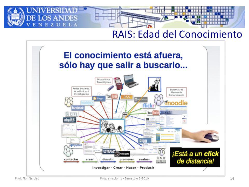 RAIS: Edad del Conocimiento Prof. Flor NarcisoProgramación 1 - Semestre B-2010 14