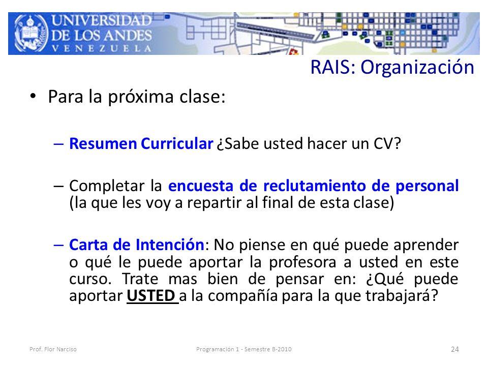 RAIS: Organización Para la próxima clase: – Resumen Curricular ¿Sabe usted hacer un CV.